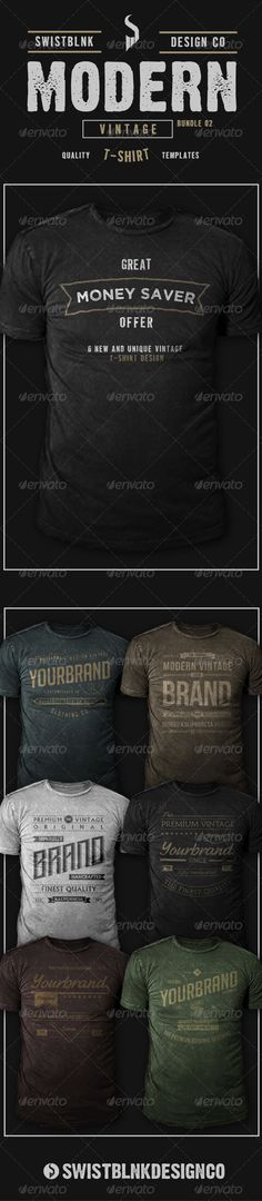 Modern Vintage T-Shirt Bundle 02 ll ITEM DESCRIPTION ll  - 6 Awesome Design Modern Vintage T-Shirt  - 100% Vector  - 18 Vector Files (AI and EPS)  - Organized Layer  - Editable Color and Text  - Link to Download Font and Mockup Include in Help File