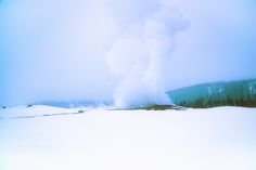Old Faithful Erupts in a Snowstorm - Against a cold, grey sky and a blanket of white snow, Yellowstone National Park's Old Faithful erupts in a plume of water and steam.