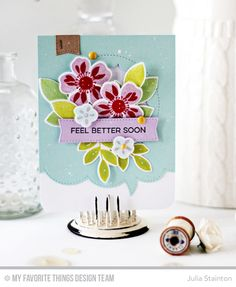 Handmade card from Julia Stainton featuring Flashy Florals Stamp Set and Die-namics, Essential Sentiments Stamp Set, Blueprints 20 Die-namics, Peek-a-Boo Circle Windows Die-namics, Stitched Speech Bubble Edges Die-namics   #mftstamps