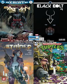 Our favorite regular comic book covers releasing 05/03 for new comic book day. Batman #22 by Jason Fabok, Black Bolt #1 by Christian Ward, Stained #1 by Steve Morris, and Teenage Mutant Ninja Turtles Funko Universe by Nico Pena. #NCBD #comicbookart