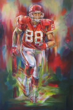 Check out all our Kansas City Chiefs merchandise! Kansas City Chiefs Football, Football Art, Football Stuff, Basketball Art, Vintage Football, Pittsburgh Steelers, Dallas Cowboys, Sports Painting, Sports Art