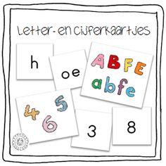 Kleuterjuf in een kleuterklas: Letter- en cijferkaartjes I Love School, Back 2 School, Dutch Words, Abc For Kids, Number Games, Letter J, Pre Writing, Spelling, Literacy