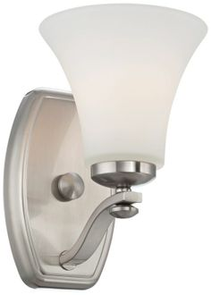 Nickel with White Glass Bell Shade Wall Sconce -