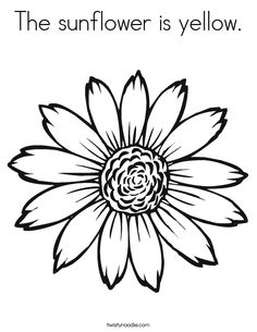 Sunflower Coloring Pages | The sunflower is yellow. Coloring Page