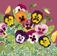 'Pansies', by UK Artist Mig Wyeth. Published by Green Pebble. Exotic Flowers, Pink Flowers, Yellow Roses, Pink Roses, Flower Images, Flower Art, Cactus Flower, Free Online Jigsaw Puzzles, Peonies Garden