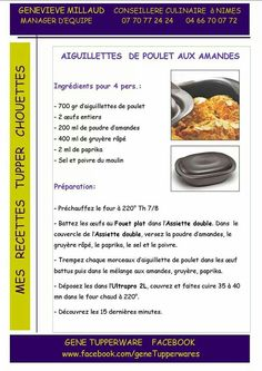Tupperware salé - Aiguillettes de poulet aux amandes Tupperware Pressure Cooker, Tupperware Recipes, Lchf, Food Art, Quiche, Entrees, Slow Cooker, Dishes, Eat