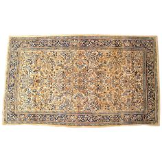 Antique Persian Kerman Carpet in Small Size with Ivory Field and Floral Design | From a unique collection of antique and modern persian rugs at https://www.1stdibs.com/furniture/rugs-carpets/persian-rugs/