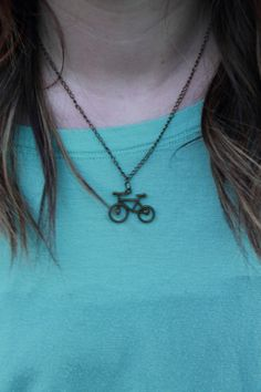 Antique Gold Bicycle Charm Necklace by BohoPrimrose on Etsy, $12.00