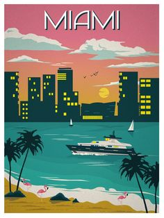 Vintage Travel Image of Vintage Miami Travel Poster - Size - Digital Print on 80 lb cover matte white *SHIPPING DETAILS* Items will be mailed out in tubes within 3 days after order. Kunst Poster, Poster S, Poster Prints, Miami Art Deco, Photo Vintage, Vintage Art, Vintage Room, Beach Posters, Florida Travel