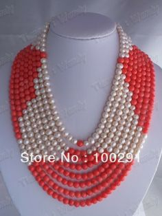 fashion blue freshwater pearl and coral beads flower necklace $48.00