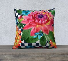 Blue and White Checkerboard with Flowers Pillow Cover, Watercolors, Velvet, French Country, Large Cushion, Accent Pillow, Decorative Pillow Large Cushion Covers, Cushion Cover Designs, Large Cushions, Throw Pillow Cases, Pillow Covers, Throw Pillows, White Decorative Pillows, Flower Pillow, Cotton Pillow