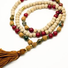 Stretchy Wood Mala Beads with Ocean Jasper & Red Buri Seed beads