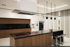 Modern Kitchen Modern Kitchen Modern Home Brown Kitchen Cabinet Also Island Also Black Granite Countertop Also Pendant Lamp Also Kitchen Hoods Also Stools With Backs Also White Flooring Pictures Of Modern Kitchens With New Product Modern Kitchen Hoods