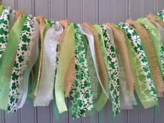St. Patrick's Day Shamrock Garland, Shabby Ribbon Banner, St. Patrick's Day Party decorations http://sapphire.loveitsomuch.com/boards.html