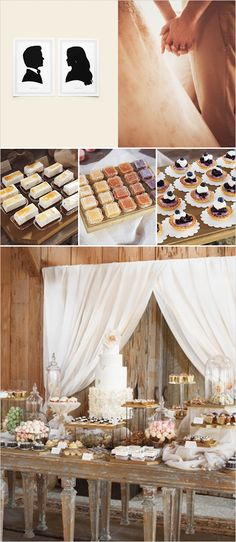 Desert table, need the different heights.Blake Lively and Ryan Reynolds-lots of great rustic decor inspiration! Chic Wedding, Wedding Events, Rustic Wedding, Our Wedding, Dream Wedding, Wedding Desserts, Wedding Decorations, Wedding Favors, Blake Lively Wedding