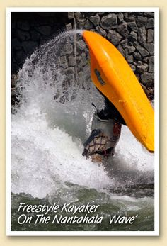 """Whitewater Kayak Gear Freestyle kayaker on the Nantahala """"Wave"""" Kayaking With Dogs, Kayaking Gear, Kayak Camping, Whitewater Kayaking, Canoeing, White Water Kayak, Bryson City, Kayak Adventures, Mountain Vacations"""