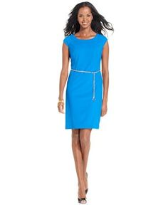 $60 Jones New York Dress, Cap-Sleeve Belted Sheath - Dresses - Women - Macy's
