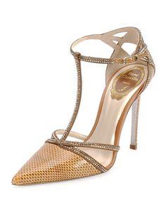 Strass Crystal Python T-Strap Sandal by Rene Caovilla at Bergdorf Goodman.