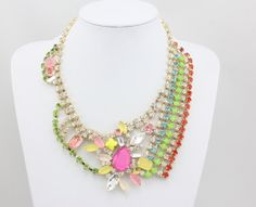 Fashion Rhinestones Necklace, Multicolor Collar Necklace, Statement Jewelry Necklace.