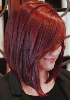 Vibrant Red Inverted Bob Haircut