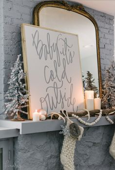 Tinsel trees and stockings are super traditional, and always make guests feel like holiday has arrived. Take it up a notch with a sign that displays a line from a favorite festive tune.  See the full home tour at Kindred Vintage & Co. »  - GoodHousekeeping.com