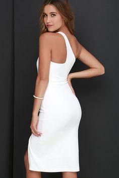One-Way Ticket Ivory One Shoulder Midi Dress at Lulus.com!