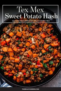 Make good use of leftover taco meat by giving this easy Tex-Mex Sweet Potato Hash a try. A tasty and hearty breakfast or weeknight dinner option that& too! Mexican Food Recipes, Whole Food Recipes, Vegetarian Recipes, Cooking Recipes, Healthy Recipes, Dinner Recipes, Budget Recipes, Roast Recipes, Avocado Recipes