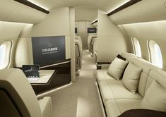 Luxury aircraft interiors that will make realize that even traveling can be so luxurious and pleasant. Explore this gallery of luxury aircraft interiors and choose your best options before you finalize your holiday plan and travel through aircraft. Luxury Jets, Luxury Private Jets, Private Plane, Executive Jet, Executive Toys, Airplane Interior, Jet Privé, Private Jet Interior, Luxury Helicopter