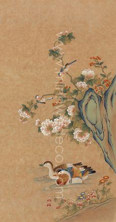 Korean Painting, Chinese Painting, Chinese Art, Chinese Brush, Chinese Style, Watercolor Flowers, Watercolor Paintings, Brush Strokes Painting, Interior Logo
