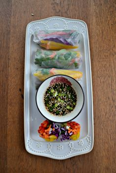 Fresh Vegetable Rainbow Rolls served with Sesame Soy Ginger Dipping Sauce