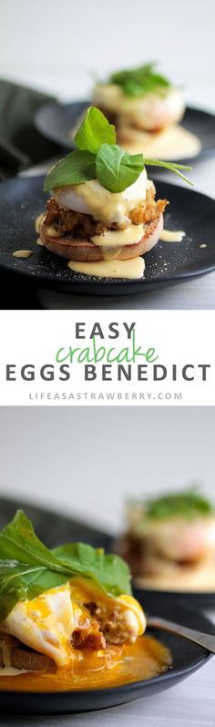 Easy Crabcake Eggs Benedict | Give your homemade eggs benedict a twist with this easy and delicious breakfast recipe. Crabcakes, toasted English Muffins, and a foolproof homemade hollandaise sauce make this dish a winner. Perfect for brunch!