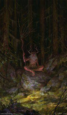 Prophet of Dark Forest, Veli Nyström - Dark fantasy Dark Fantasy Art, Fantasy Artwork, Fantasy Magic, Fantasy Forest, Fantasy Kunst, Dark Forest, Forest Art, Forest Creatures, Mythical Creatures