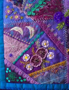 I ❤ crazy quilting & embroidery . . . beautiful, Block 5 - Crazy patchwork wall quilt. By marcie carr