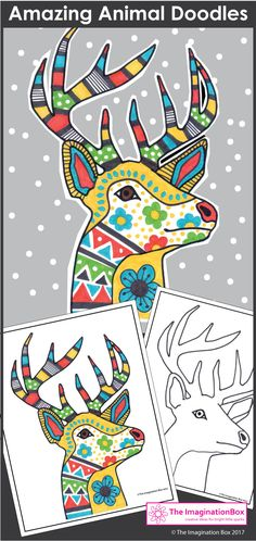This animals colouring pages pack is a great winter art project for kids in the classroom. easy to use printable templates include a stag design, fox, bear, Winter Art Projects, Easy Art Projects, Projects For Kids, Geometric Patterns, Animal Doodles, Animal Coloring Pages, Owl Art, Writing Activities, Art Plastique