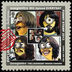 The Beatles Minions Stamp. Very cool find! #TheBeatles #Minions