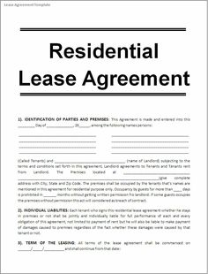 Nice Printable Sample Free Lease Agreement Template Form