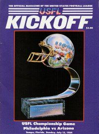 USFL Kickoff game program featuring the USFL Championship trophy
