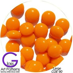 COE 90 Fusible Glass Pebbles: Orange opaque 1/2 inch (12.7 mm) Qty 25+