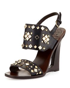 Kingsbridge Studded Open-Wedge Sandal, Tory Navy by Tory Burch at Neiman Marcus.