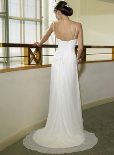 Affordable Spaghetti Straps V-Neck Ruffle Column Court Train Wedding Gown - $289.99 : Cheap wedding dresses