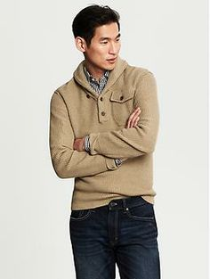 Heritage Safari Shawl-Collar Pullover - Way too overpriced, but HOT!  Love it!  $120 Banana Republic XXL Tall please!