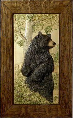 Animal art Ceramic tile Home decor Bear by MedicineBluffStudio, $200.00