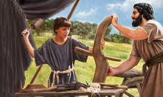 Joseph training Jesus to become a carpenter