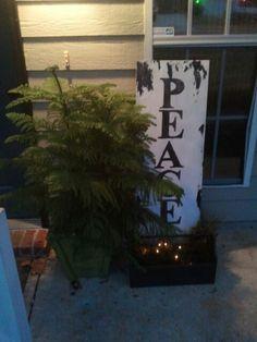 christmas decor peace weathered wood board