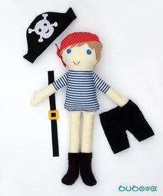 Items similar to Pirate Boy Fabric Doll With Removable Hat Trousers & Belt, rag doll, doll for boys, cloth doll, handmade doll on Etsy Pirate Boy, Fabric Dolls, Pirates, Elf, Hello Kitty, Trousers, How To Remove, Baba, Textiles