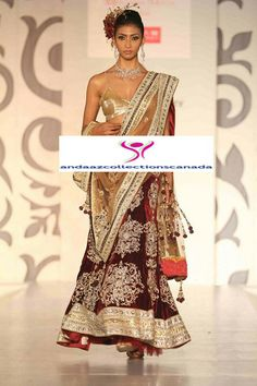 Dazzling Deep Red Gold Ramp Bridal Lehenga buy it now at andaazcollectionscanada