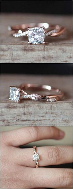 C&C Forever Brilliant 6mm Cushion Cut Moissanite Engagement Ring Set Half Eternity Diamond Wedding Ring Set 14K Rose Gold Ring Bridal Set #cushioncutring #weddingring