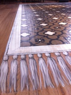 Painted floor rug at Michael Chiarello's restaurant Coqueta. Caroline Lizarraga for Brooks Charles Griffin Design