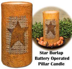 Star Burlap Timer Pillar