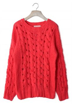 Classic Cable Knit Cut Out Jumper in Red
